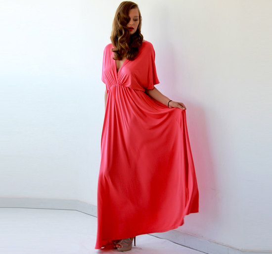 Neon coral bridesmaid dress with bat sleeves