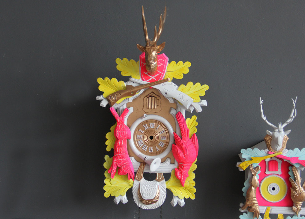 Upcycled-gold-white-and-neon-cuckoo-clock.full