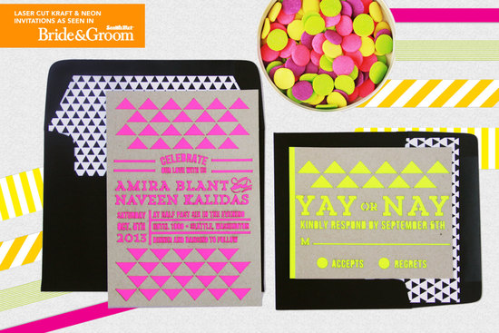 Funky neon modern wedding invitation on kraft paper