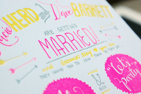 Neon pink yellow white and grey wedding invitation