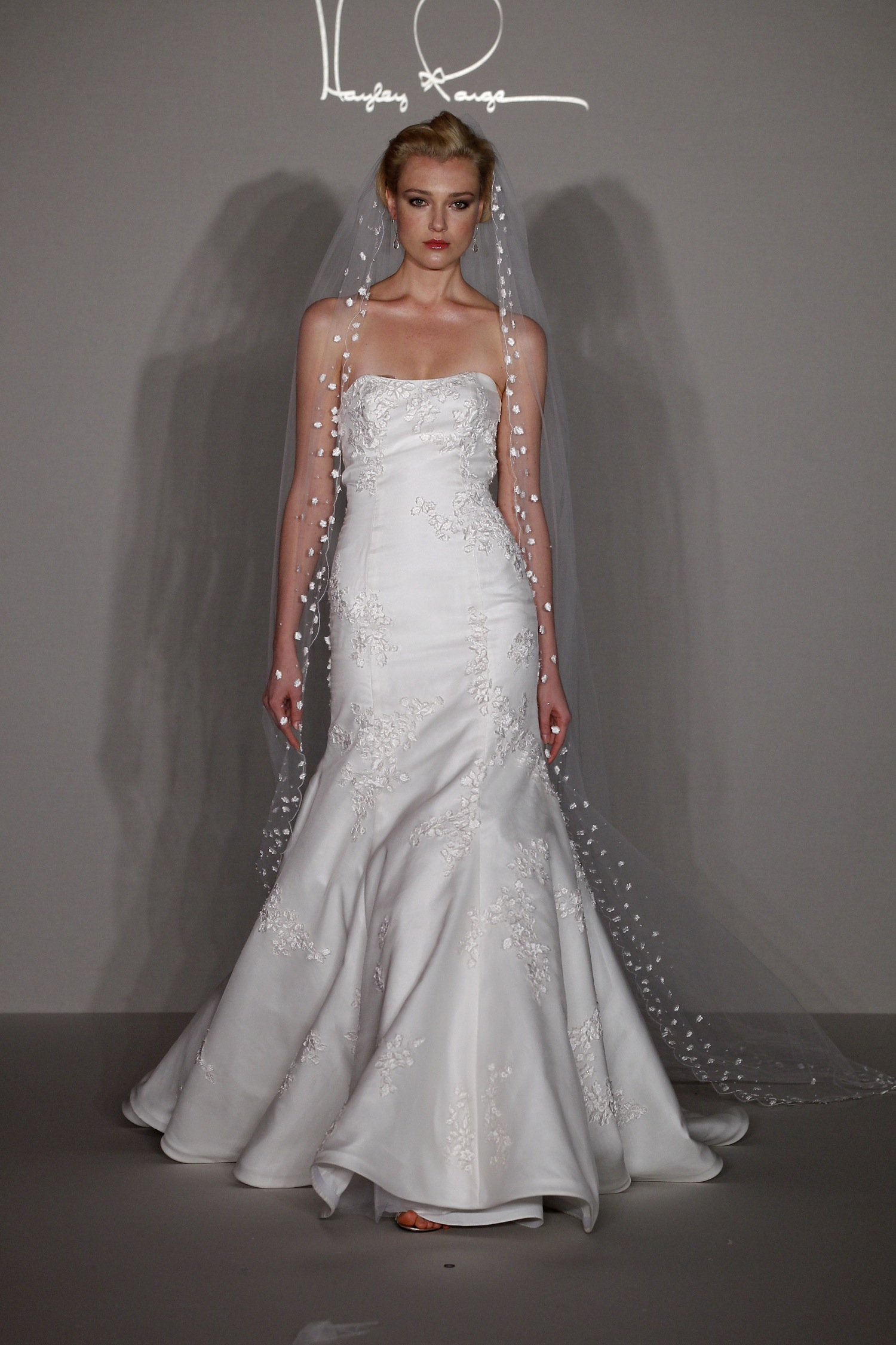 Hayley paige 2012 wedding dress lace mermaid with open for A shaped wedding dresses