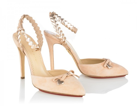 Blush pink suede wedding heels with metallic heart straps
