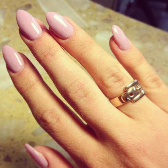 Blush pink stiletto manicure for brides