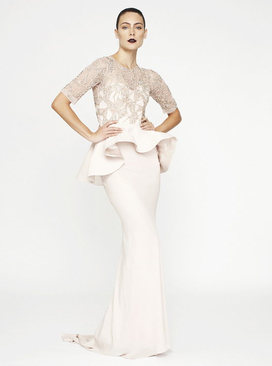 Rachel Gilbert 2013 wedding dress with sleeves and peplum