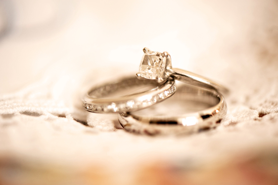 Elegant real wedding dreamy engagement ring wedding bands photo