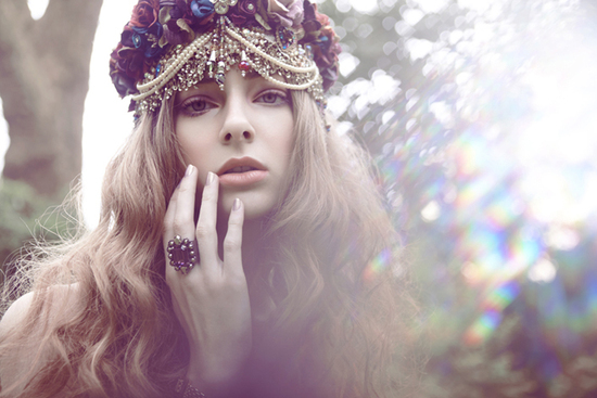 Romantic bohemian bride wears embellished turban
