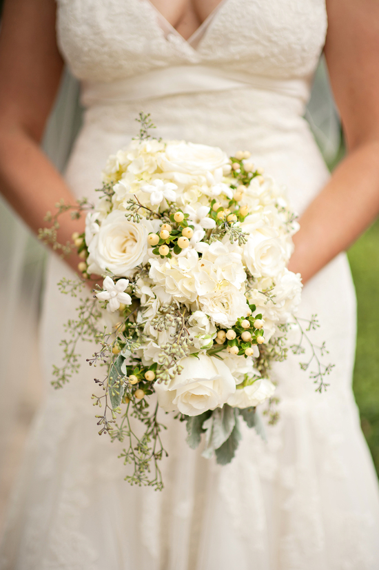 Florida bride with classic wedding bouquet in ivory and green