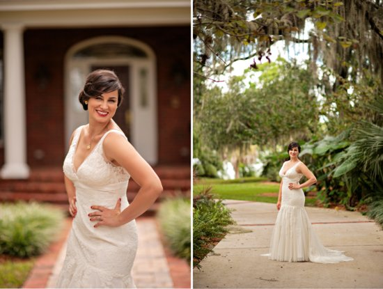Vintage inspired wedding in florida bride wears ivory lace gown