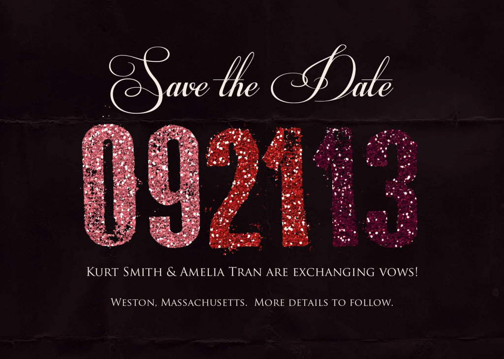 Black-wedding-save-the-date-with-glitter-accents.full