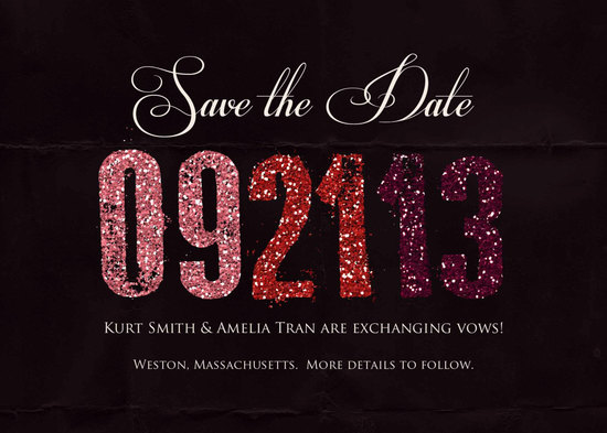 black wedding save the date with glitter accents