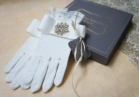 lace bridal gloves with sparkly vintage brooch