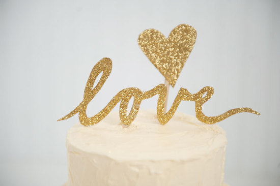 Glitter Gold Love wedding cake topper