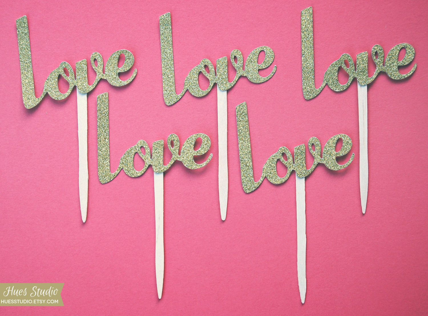 Gold glitter Love wedding cupcake toppers