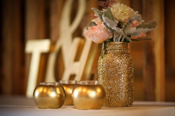 Mason Jar Wedding Centerpieces.Glittery Gold Mason Jar Wedding Centerpiece