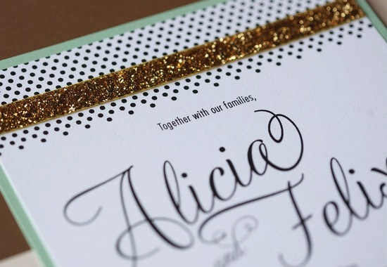 Gold sequin lined modern wedding invitation