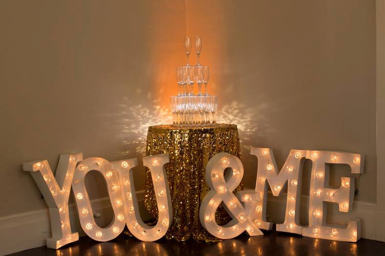 you and me marquee sign wedding rent