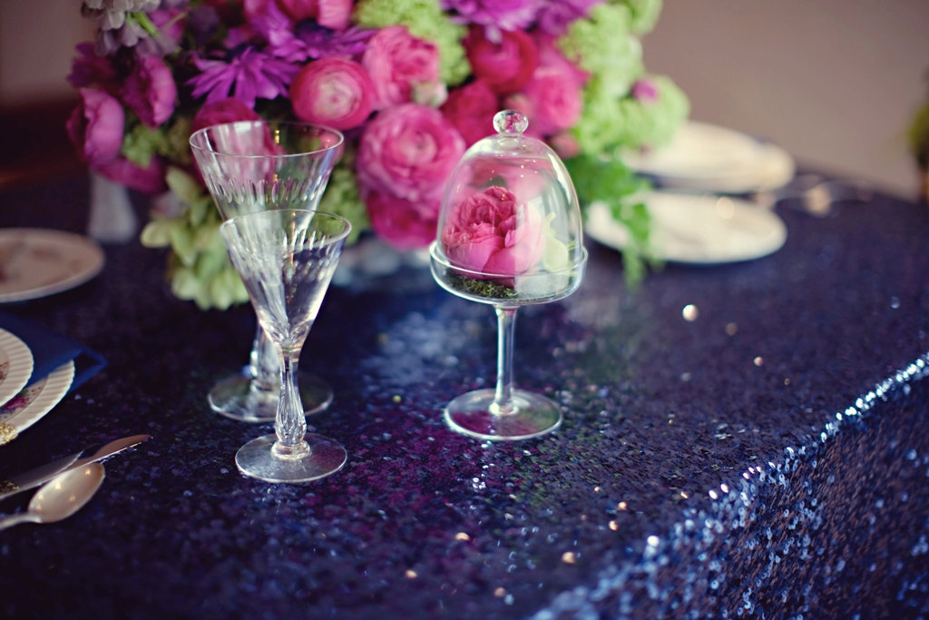 Navy sequin wedding table linens with pink flowers