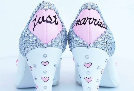 photo of Handmade wedding heels for girly brides