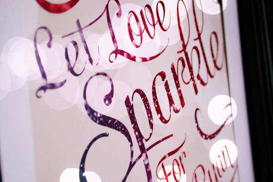 Let Love Sparkle glitter wedding sign