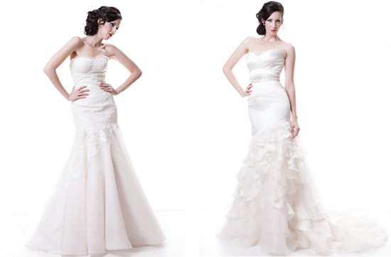 Sarah Houston wedding dresses, 2012 bridal- drop-waist mermaids with sweetheart necklines