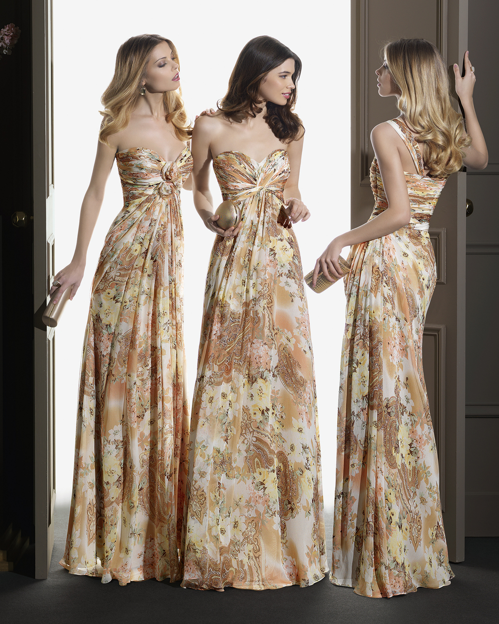 Long bridesmaid dress with a blue watercolor print ombrellifo Image collections