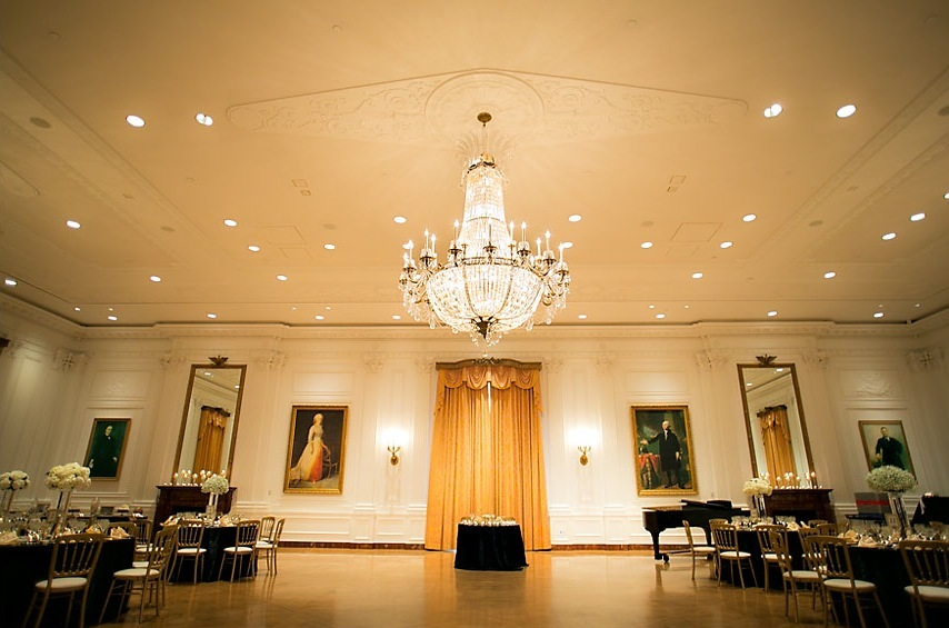black tie wedding venue with chandelier
