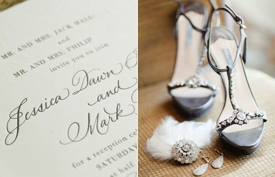 Elegant wedding invitations and bridal heels at black tie wedding