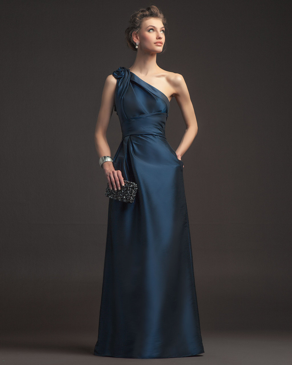 Elegant navy blue bridesmaid dress long gown bhldn ombrellifo Choice Image
