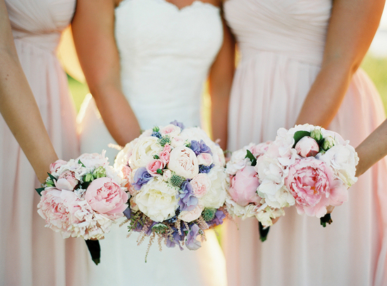 Romantic summer wedding bouquets with peonies and roses