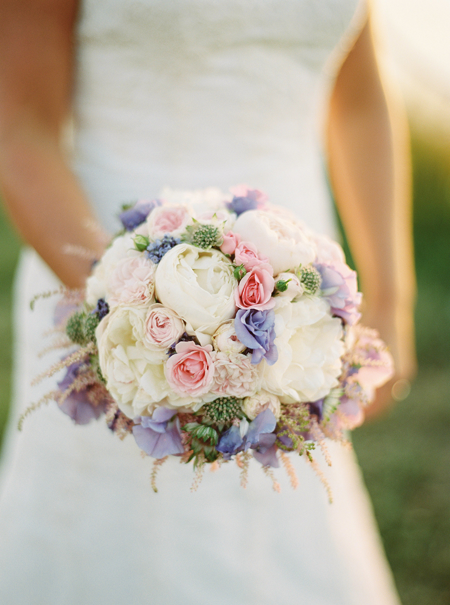 Ivory pale pink and purple romantic wedding bouquet