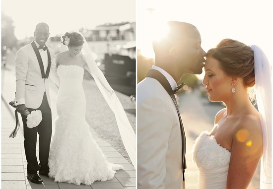 Beautiful black tie bride and groom overseas