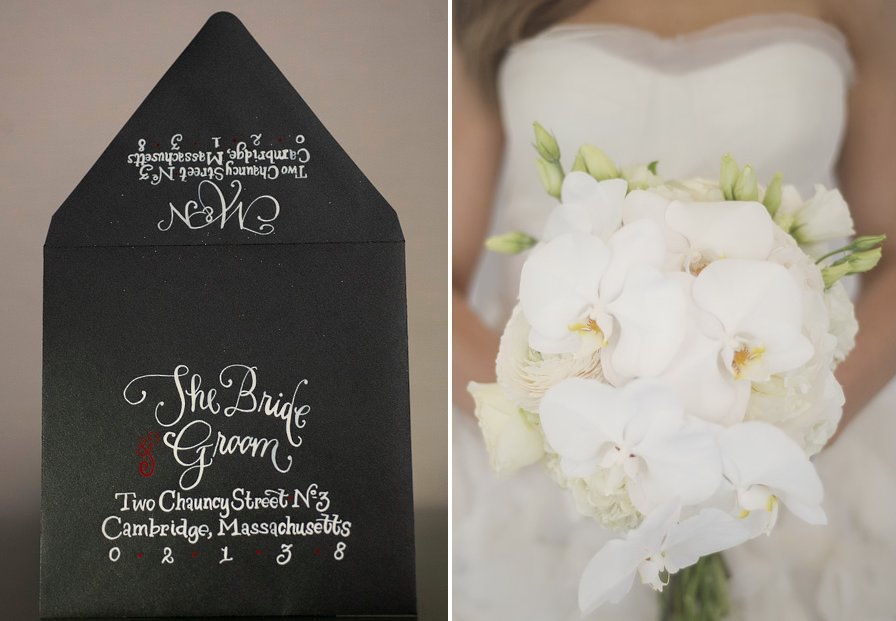 Black-tie-wedding-inspiration-white-orchid-bouquet-calligraphied-invites.full