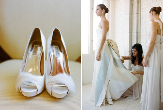 Bride wears Carolina Herrera wedding dress and feather adorned heels