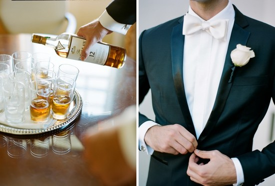 Black Tie mansion wedding dapper groom pours scotch