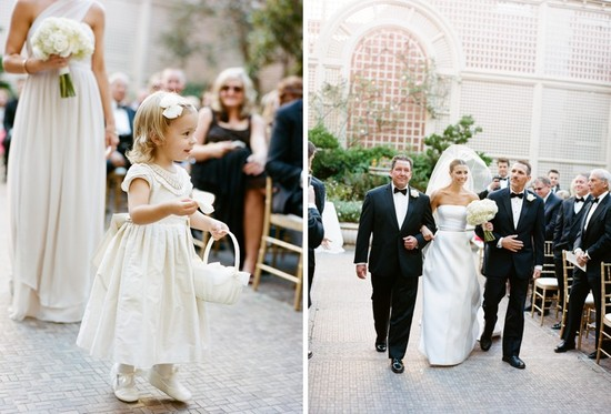 Black Tie mansion wedding adorable flower girl bride walks the aisle
