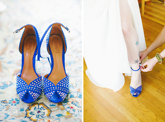 Bright blue wedding shoes for a tatted up bride