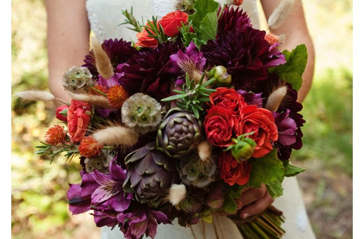Dark + Romantic wedding flowers- deep red and purple assorted bridal bouquet