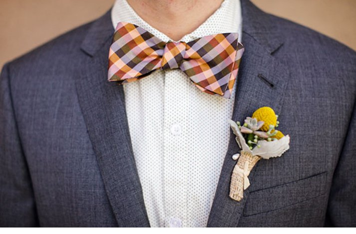 Quirky yet dapper grooms' wearing bow ties- stripes with charcoal grey