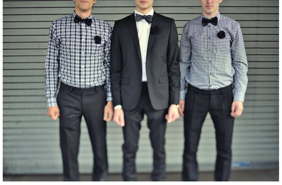 Quirky yet dapper grooms' wearing bow ties- navy blue suits