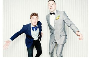 photo of Quirky Chic Grooms Wearing Bow Ties