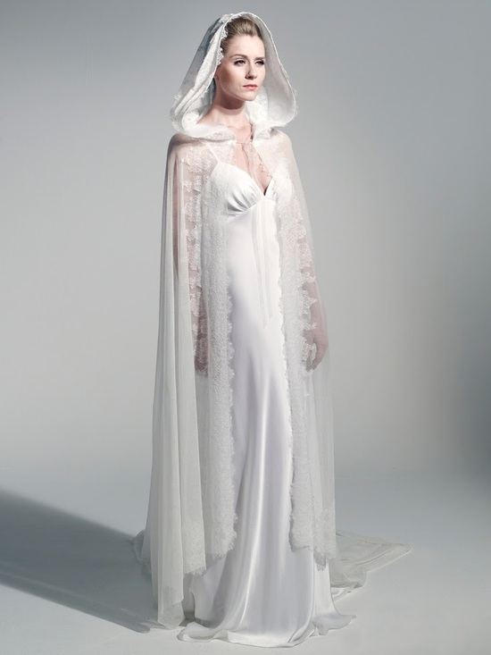 Fanny Liautard romantic lace wedding cape