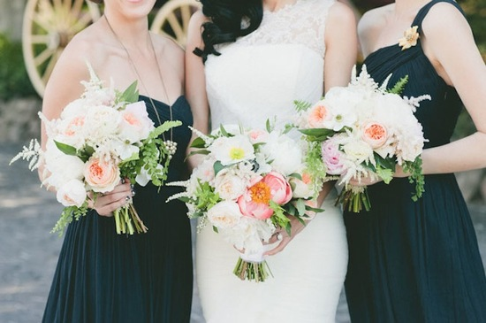Glamorous Malibu wedding bridesmaids in black