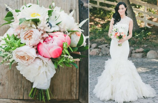 Glamorous wedding in malibu mermaid wedding dress and whimsical bouquet
