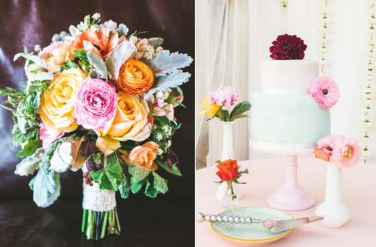 Whimsical summer wedding inspiration vibrant bouquet and classic cake