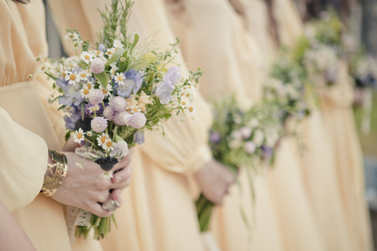 Wildflower bouquet at outdoor bohemian wedding