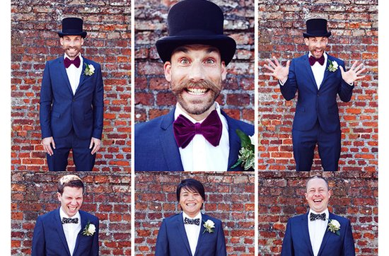 Quirky yet dapper grooms' wearing bow ties