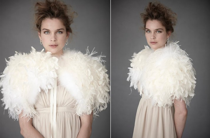 5b6c9d9232f9 Bridal boleros by BHLDN- dramatic ostrich feather wedding shrug