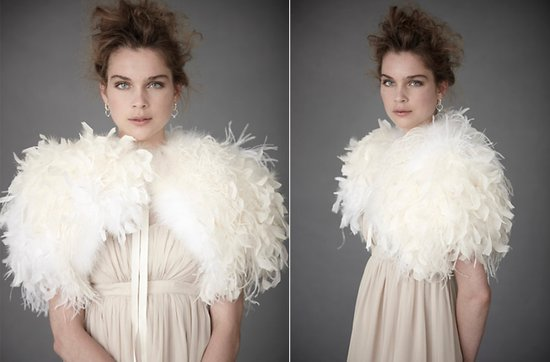 Bridal boleros by BHLDN- dramatic ostrich feather wedding shrug