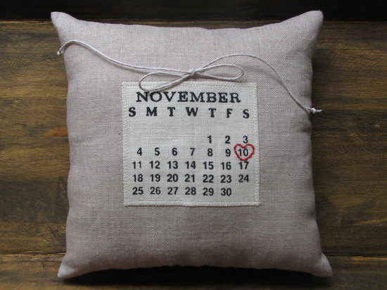 custom calendar wedding ring bearer pillow