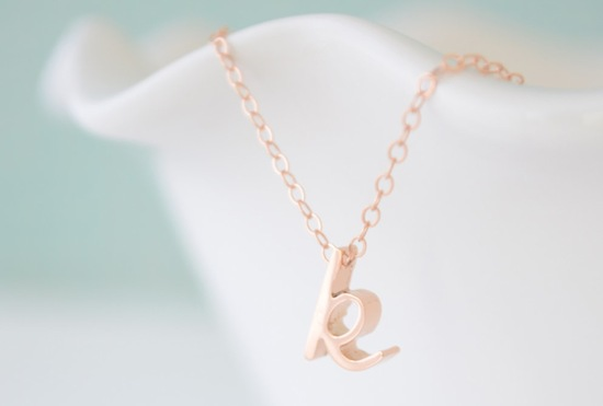 Rose gold initial pendant for bride or bridesmaids